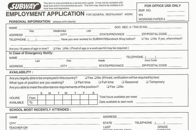2 Subway Job Application Form Free Download