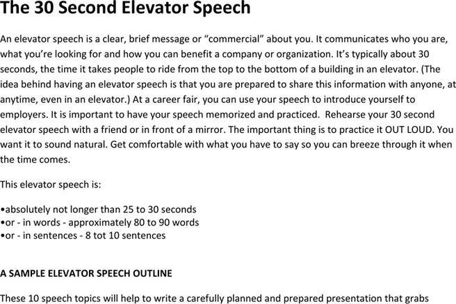 download elevator speech examples for free tidytemplates