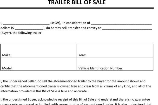 1 trailer only bill of sale free download