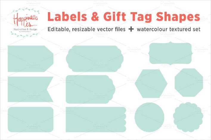12 Gift Tags And Label Shape Template Printable Page 1