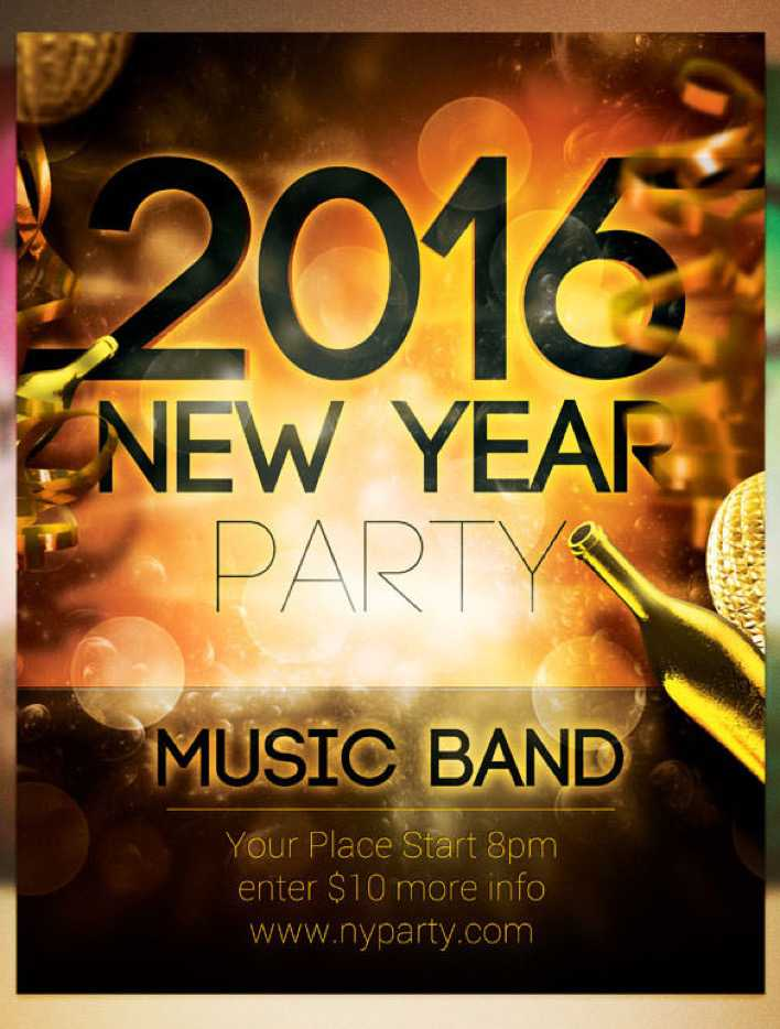 2016 New Year Band Party Flyer Template PSD Design Page 1