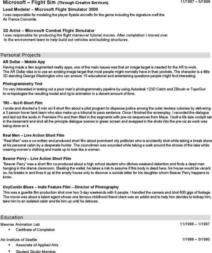 Download 3D Animator Resume for Free   Page 3 - TidyTemplates