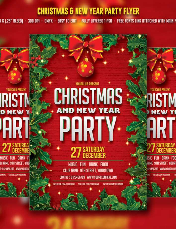5 Christmas & New year Flyer Bundle PSD Page 1