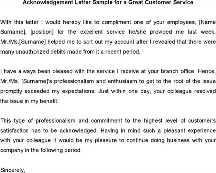 Download Acknowledgement Letter Sample For A Great Customer