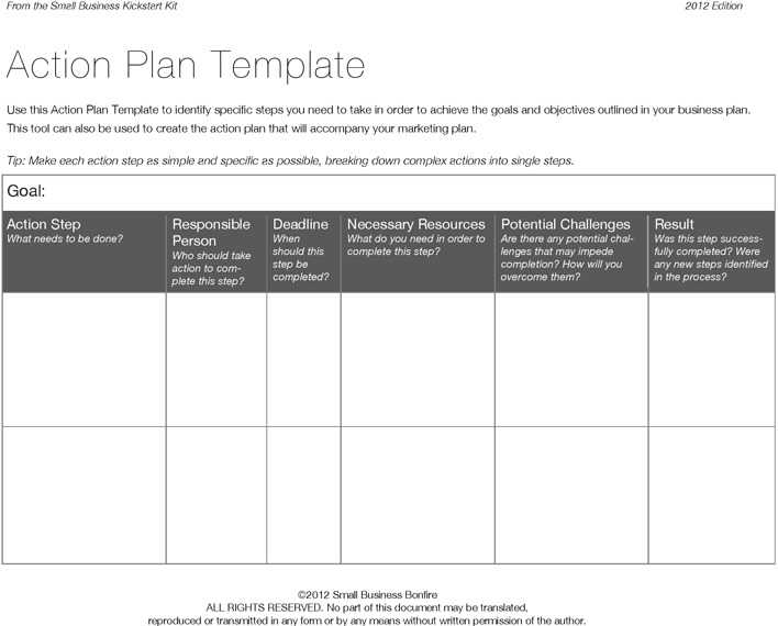 Download Action Plan Form for Free - TidyTemplates