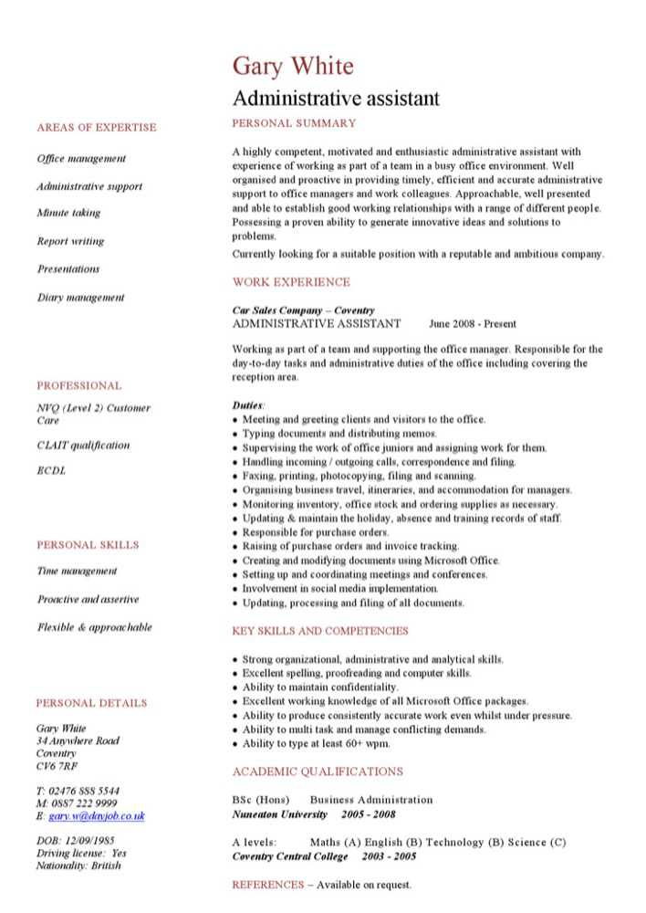 download administrative assistant cv template for free