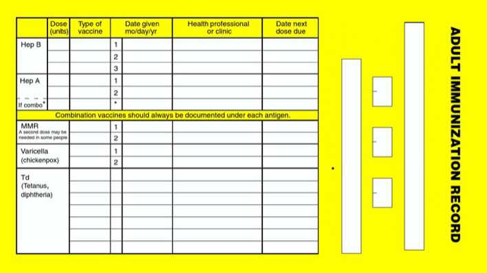 download adult immunization record card for free