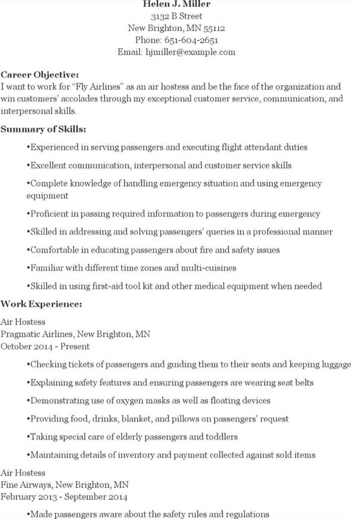 download air hostess resume for free