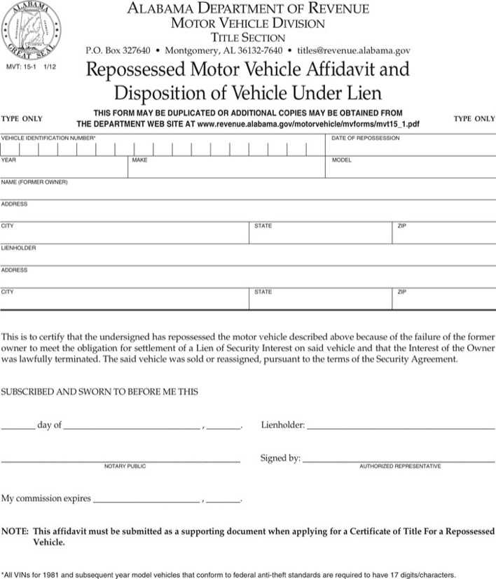 Alabama Repossessed Vehicle Affidavit And Disposition of Vehicle Under Lien Page 1
