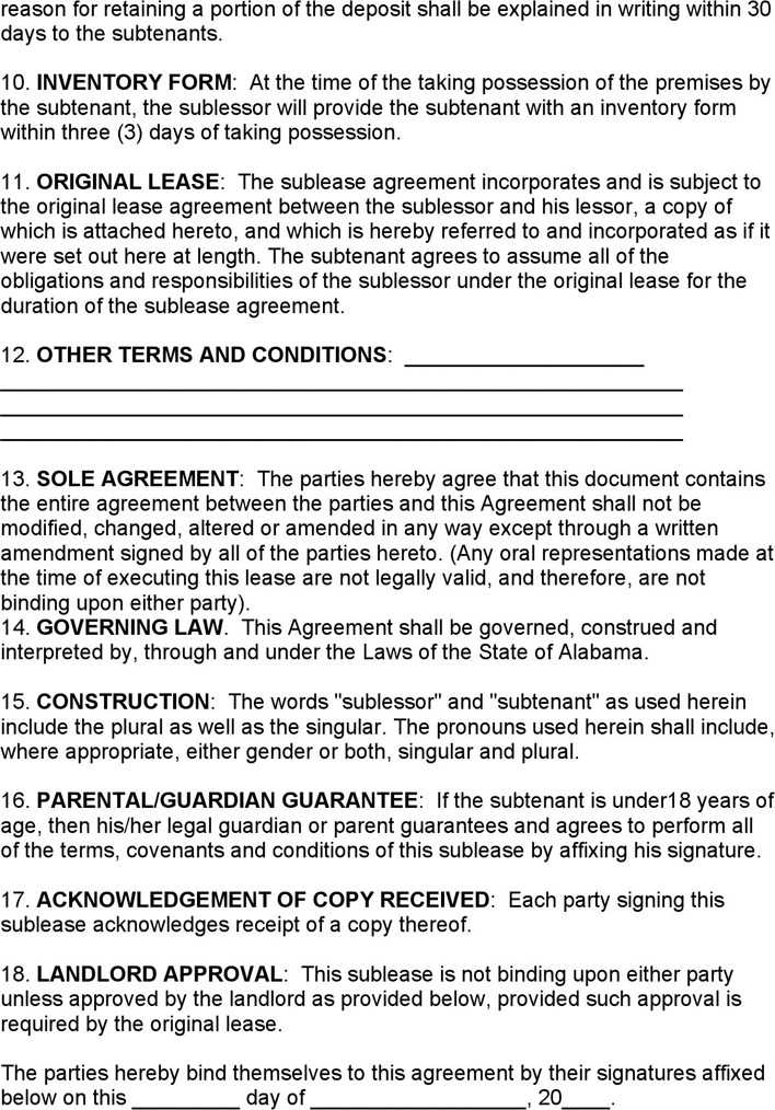 Download Alabama Sublease Agreement For Free Page 2 Tidytemplates