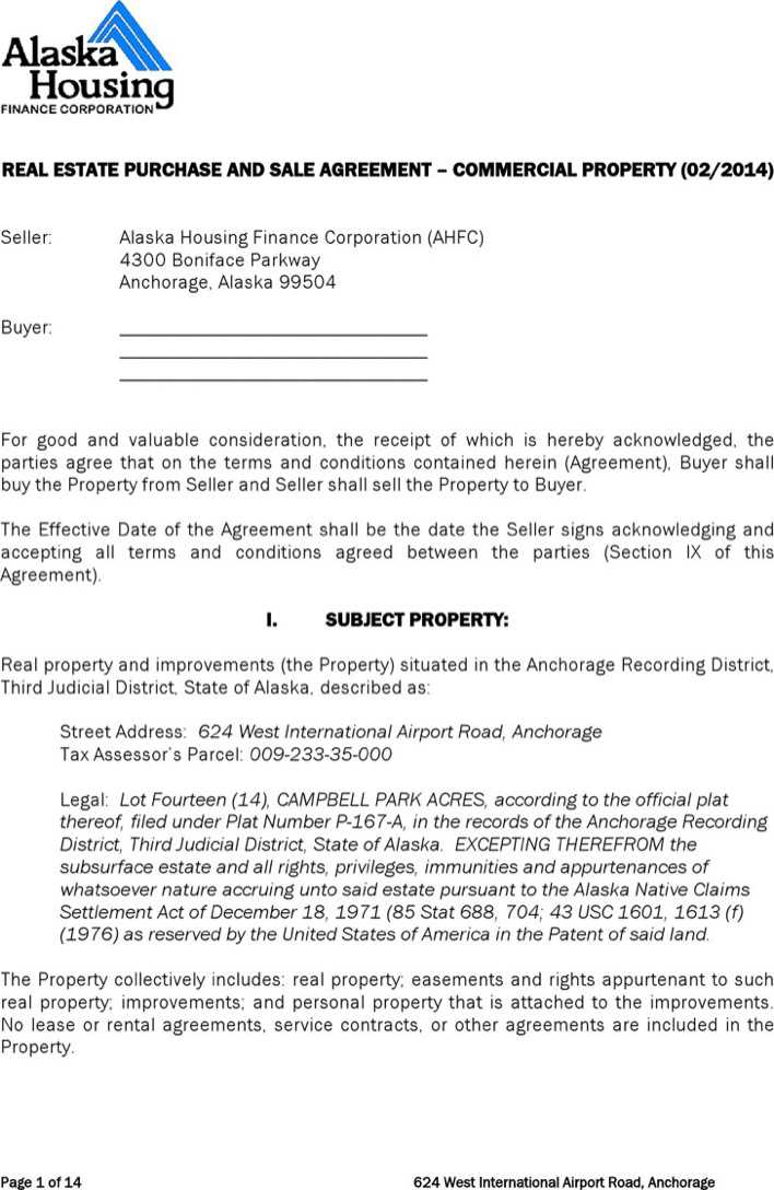 Download Alaska Real Estate Purchase And Sale Agreement Form For