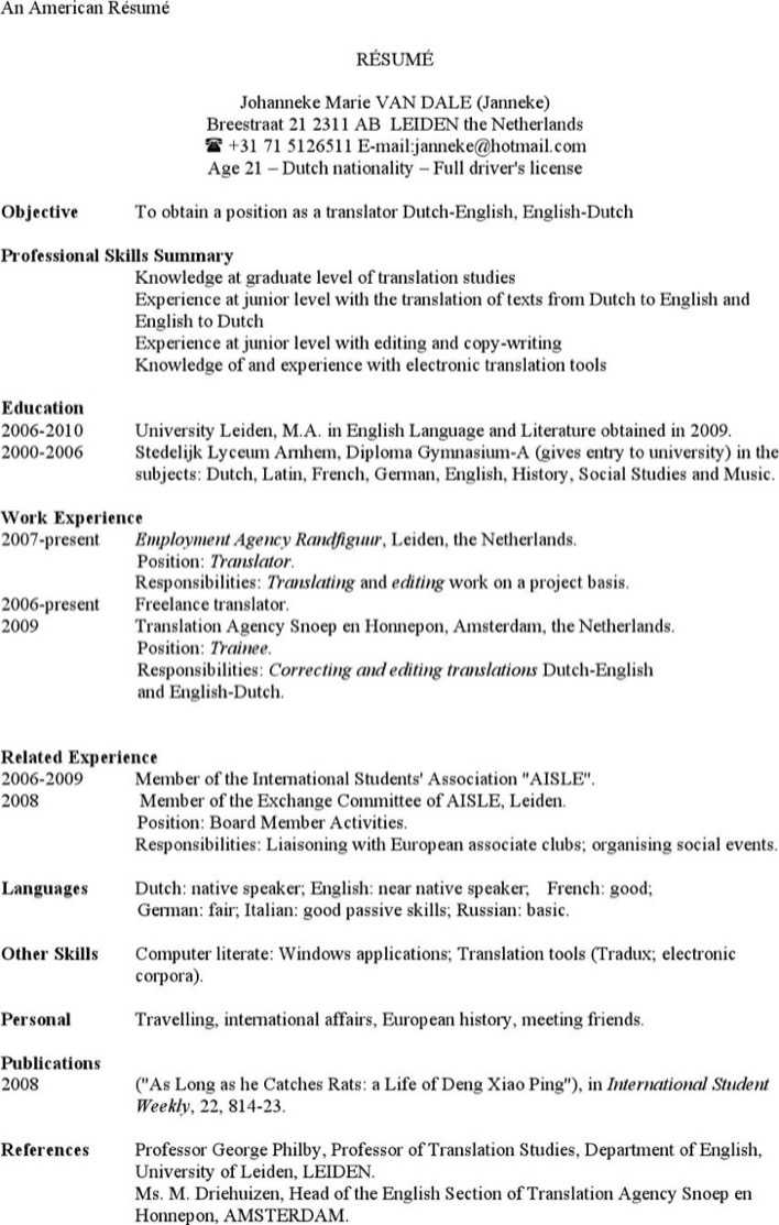 download american resume example template for free