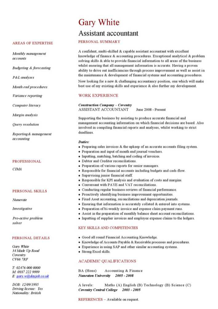 download assistant accountant cv template for free