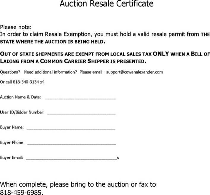Download Auction Resale Certificate For Free