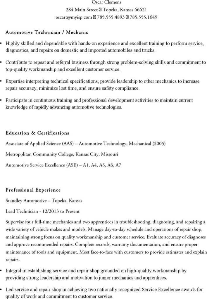 Auto Mechanic Resume Page 1