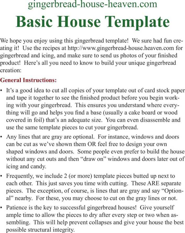 Basic Gingerbread House Template Free Download Page 1
