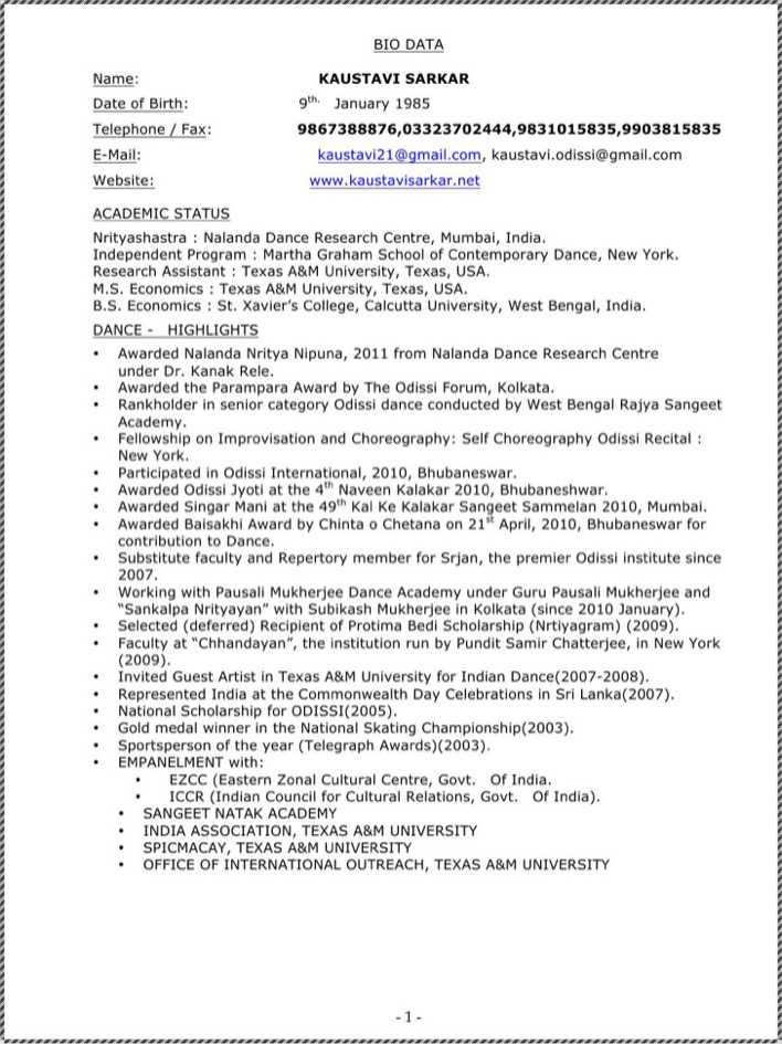 download bharatanatyam dancer resume for free