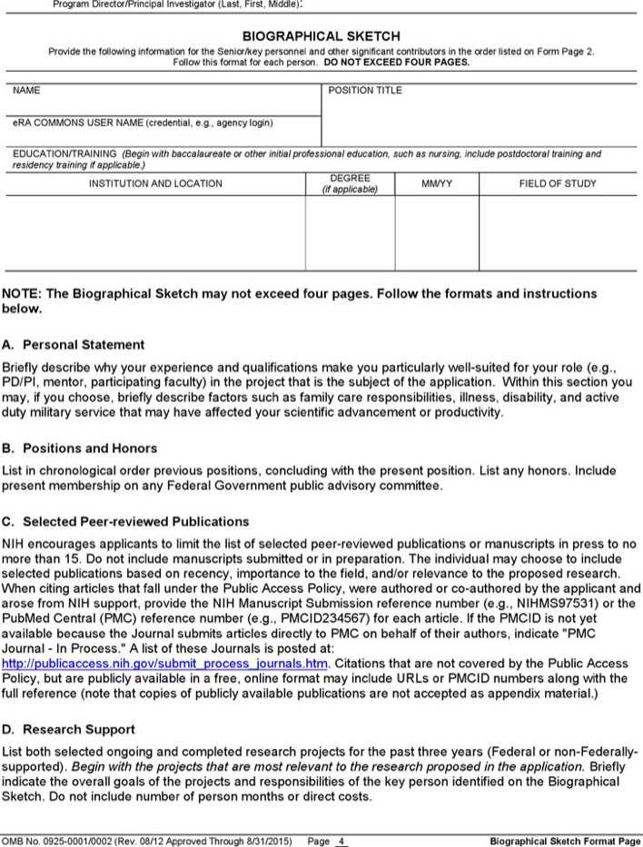 download biographical sketch sample 1 for free