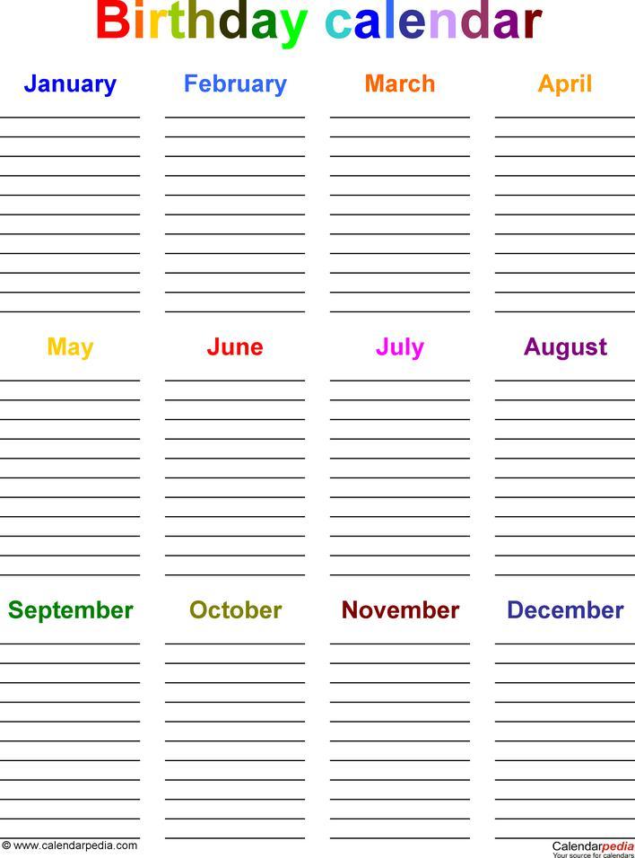 Birthday Calendar Diary 2016 Page 1