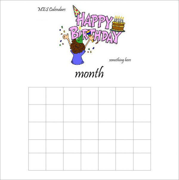 Birthday Calendar Making Template Page 1