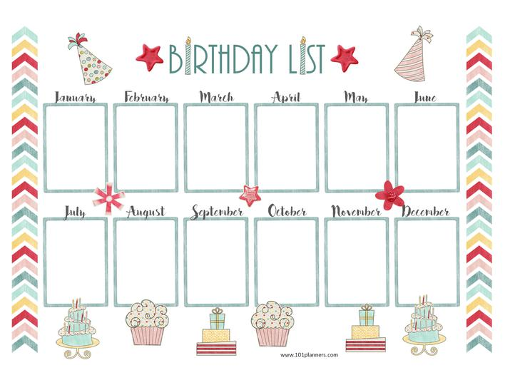 Birthday Calendar Template Page 1
