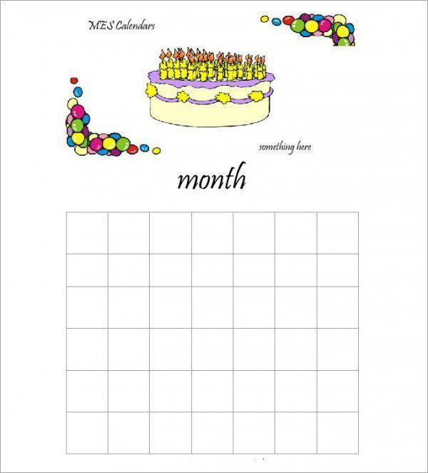 Birthday Calendar with Cake Page 1