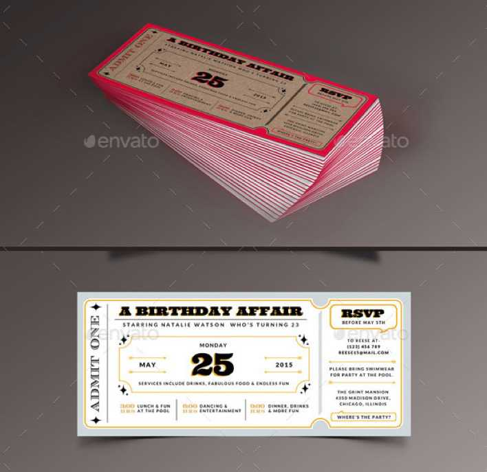 Birthday Invitation Ticket Template Page 1