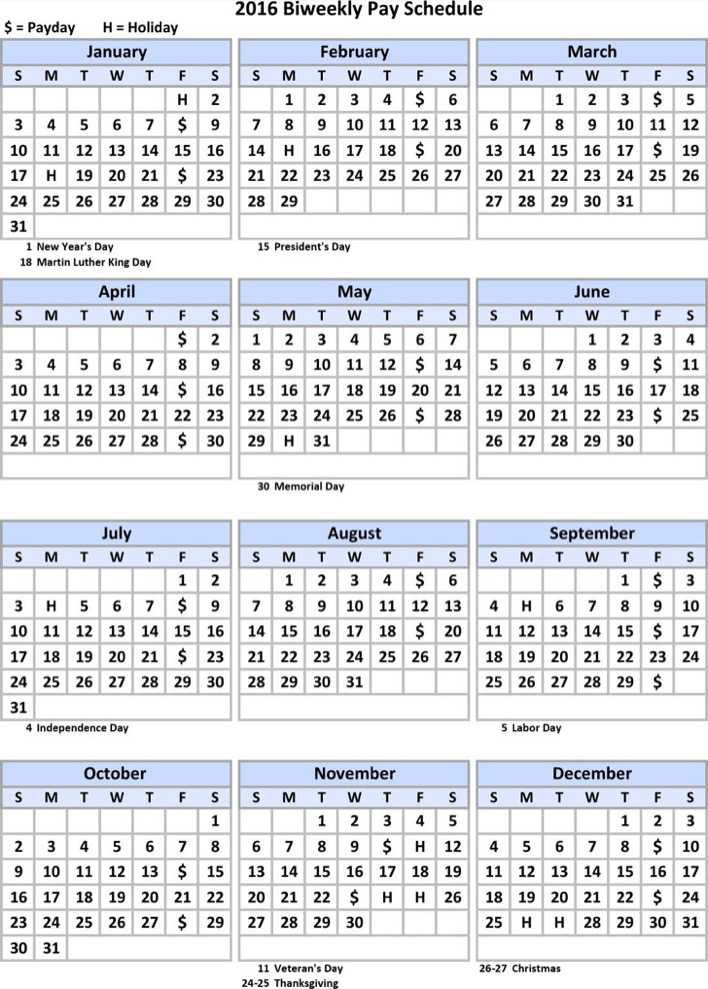 Download Biweekly Payroll Schedule Calendar Template For Free