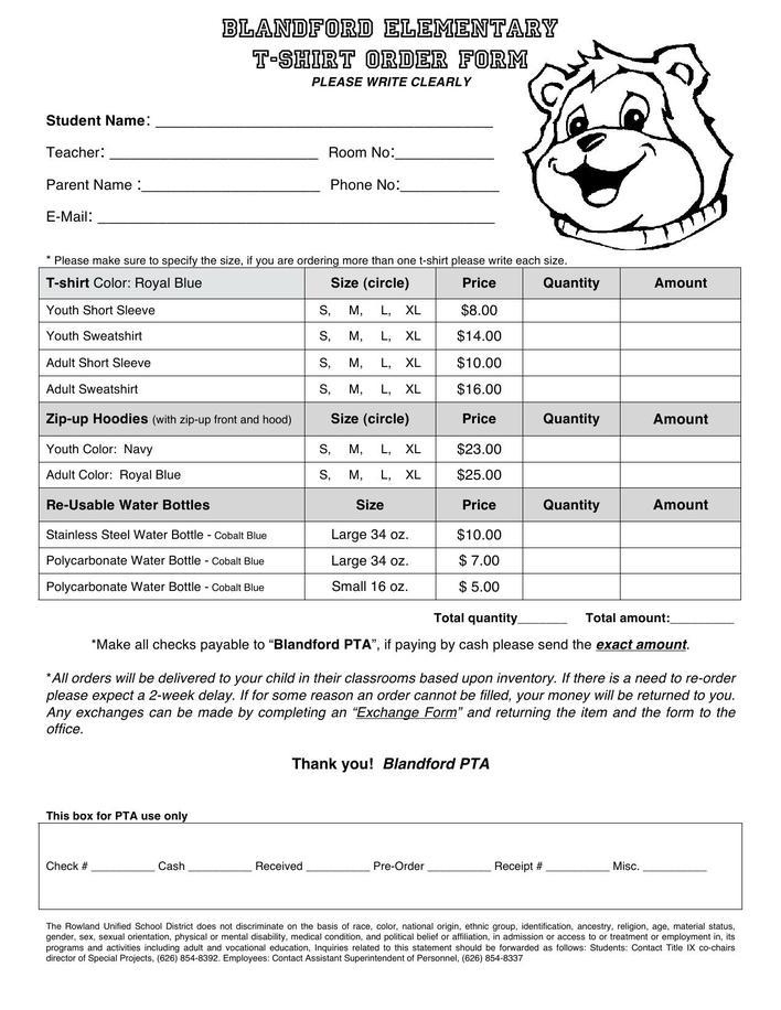 blandford-elementary-t-shirt-order-form-template-download-1 T Shirt Order Form Template Pages on excel free, google sheets, word document,