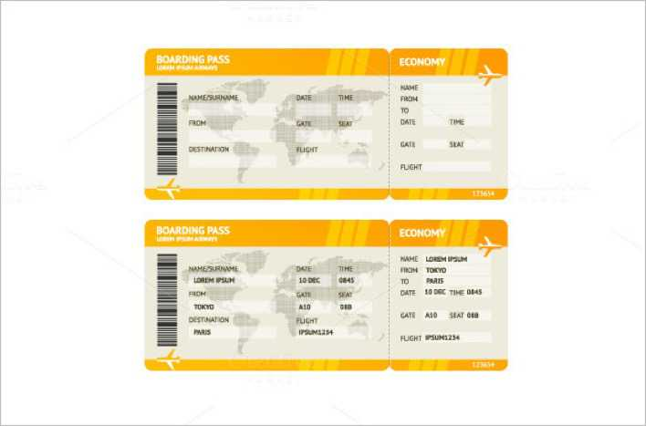 Blank Airline Boarding Ticket Yellow Background Page 1