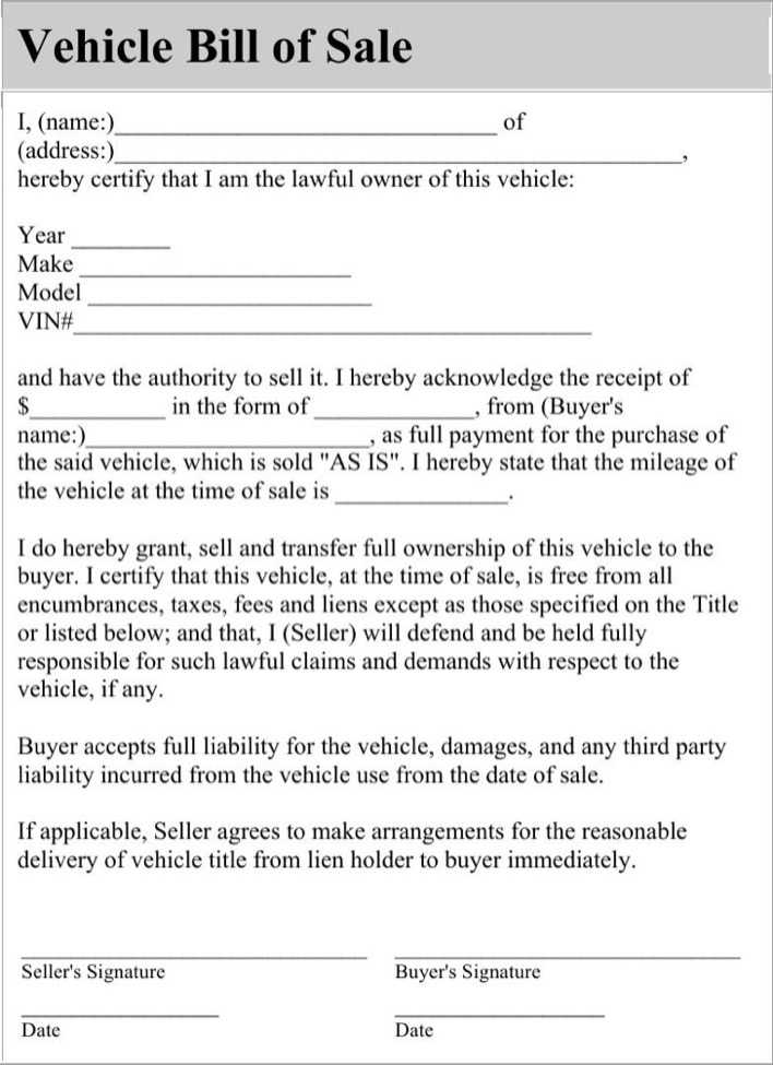 download blank automobile bill of sale for free tidytemplates