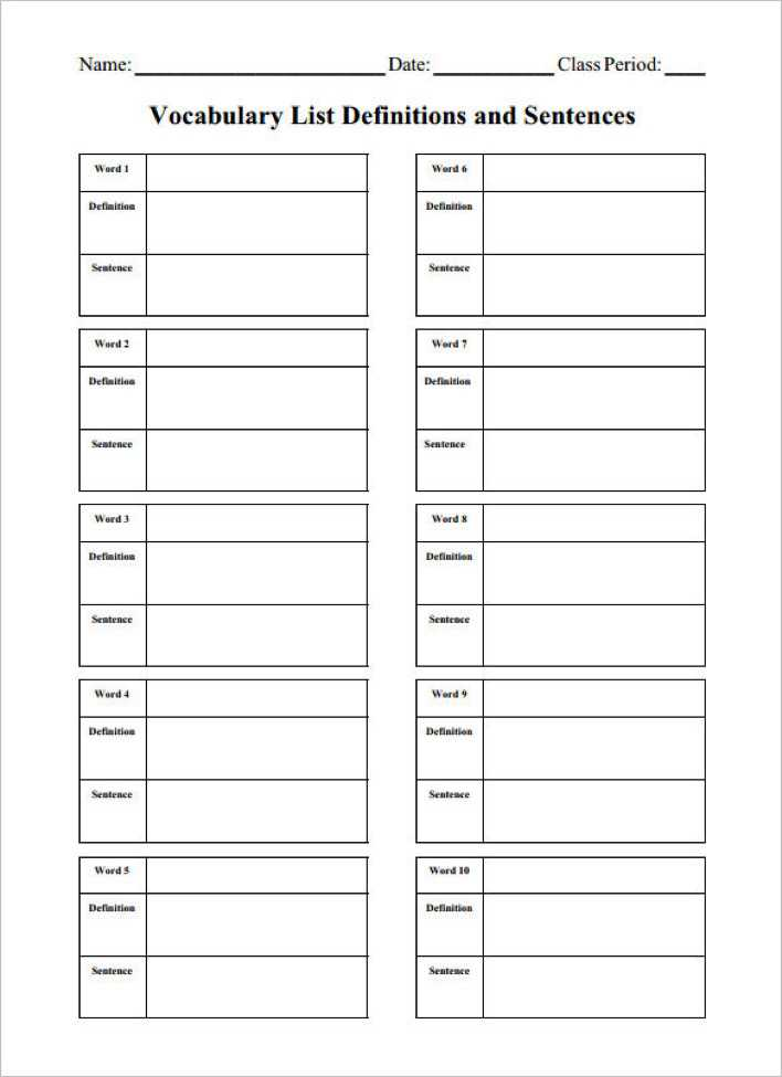 Download Blank Vocabulary Worksheet Template PDF Download for Free ...
