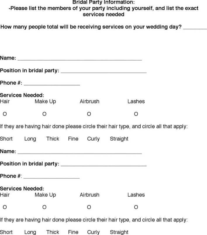 Bridal Party Itinerary Template Page 4