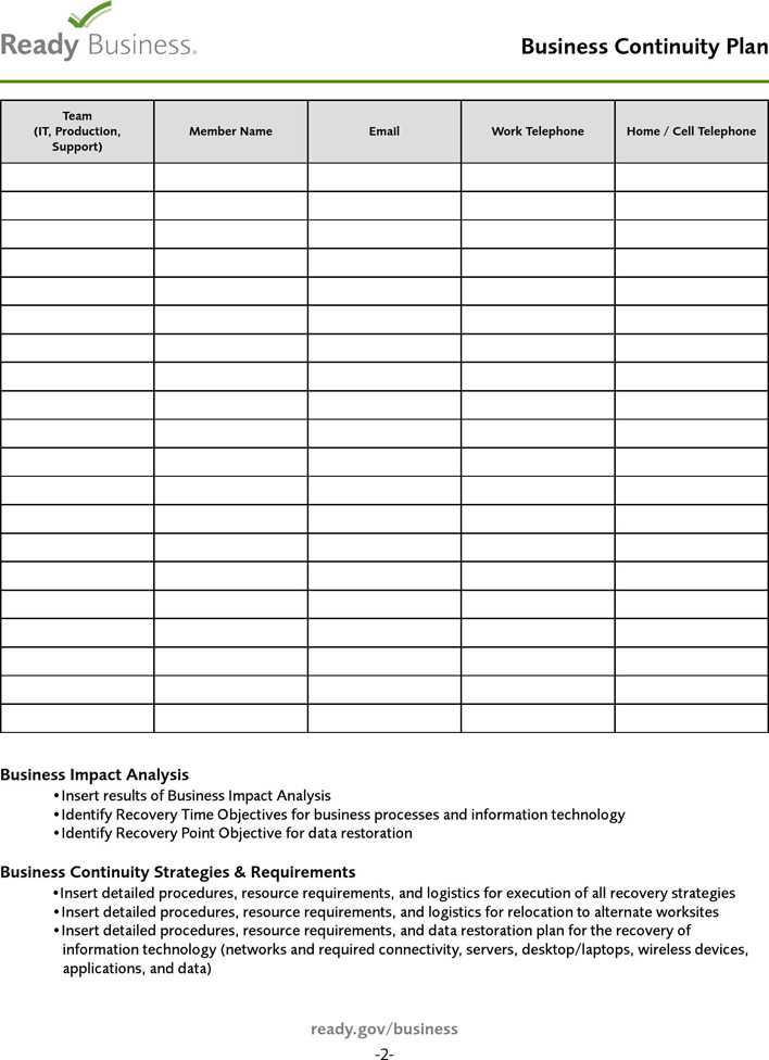 Download Business Continuity Plan Template 1 For Free Page 2