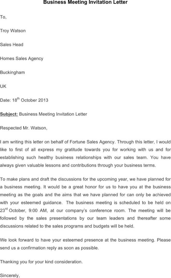 Download Business Meeting Invitation Letter Template For Free