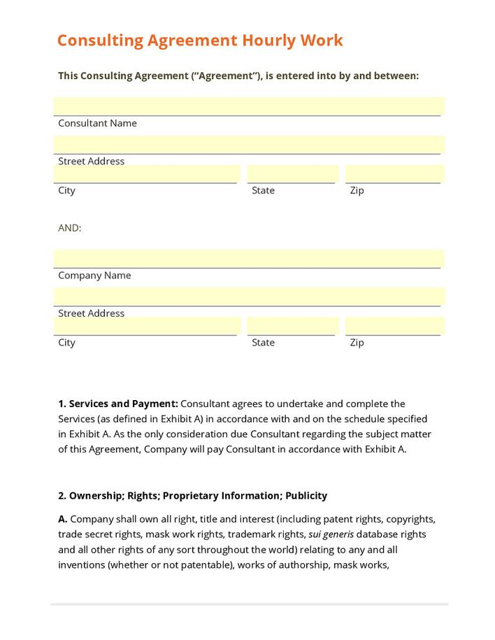 Business Sample Consulting Agreement Contract PDF Example Page 1