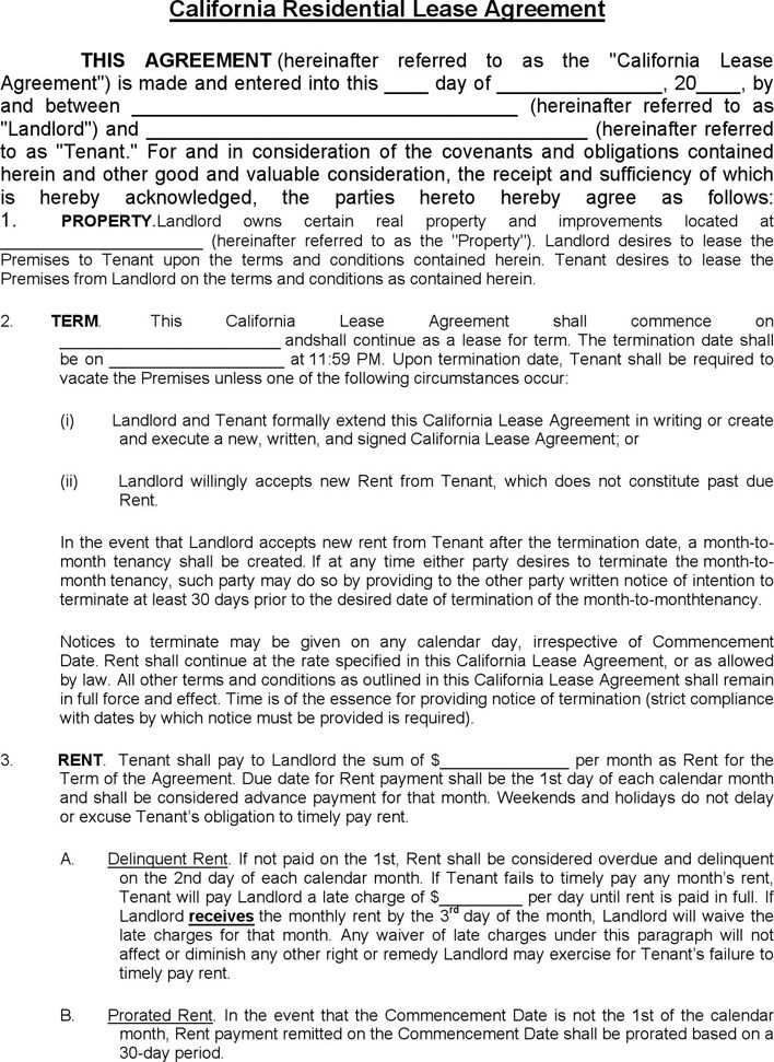 download california residential lease agreement 1 for free