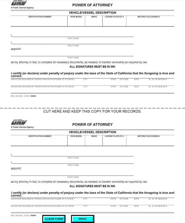 Download California Vehicle/Vessel Power of Attorney Form
