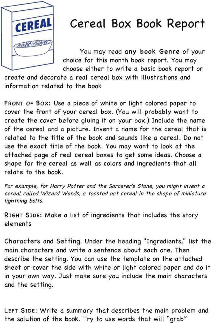Cereal Box Book Report Template 2 Page 1