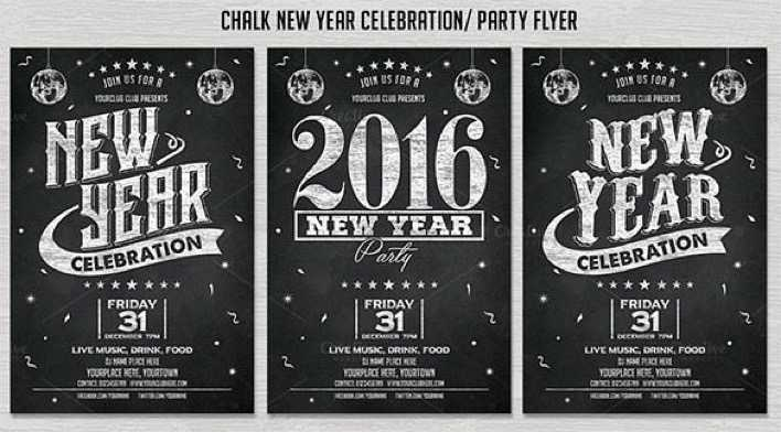Chalk New Year Party Flyer Invitation Template Download Page 1
