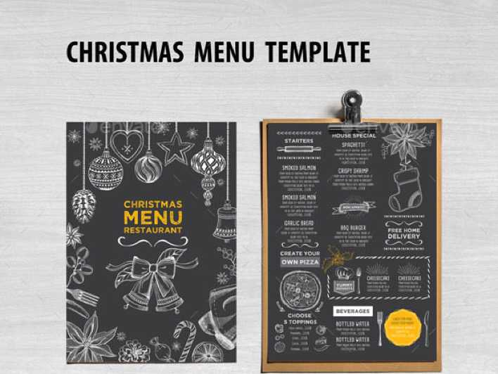 Chalkboard Christmas Menu Restaurant Template Vector EPS Page 1