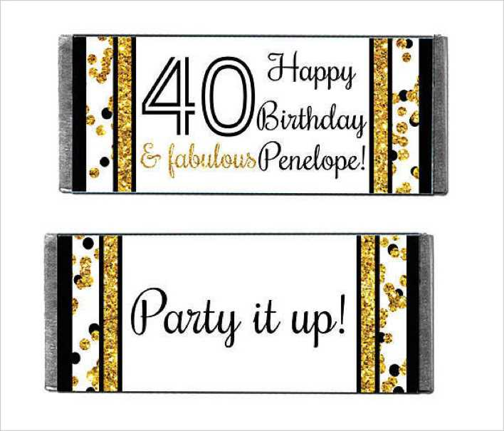 Cheers to You 40 Personalized Candy Bars Wrapper Page 1