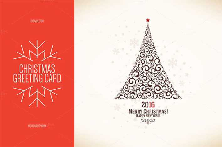 Christmas and New Year Greeting Card Template Premium EPS Page 1