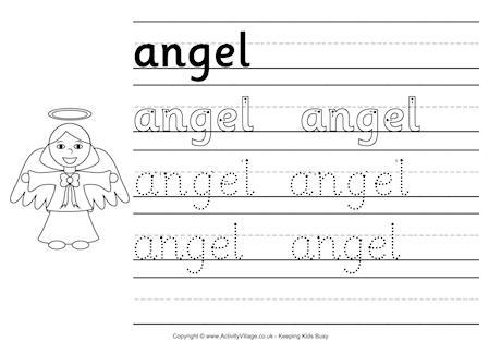Christmas Angel Writing Paper Handwriting Template Page 1