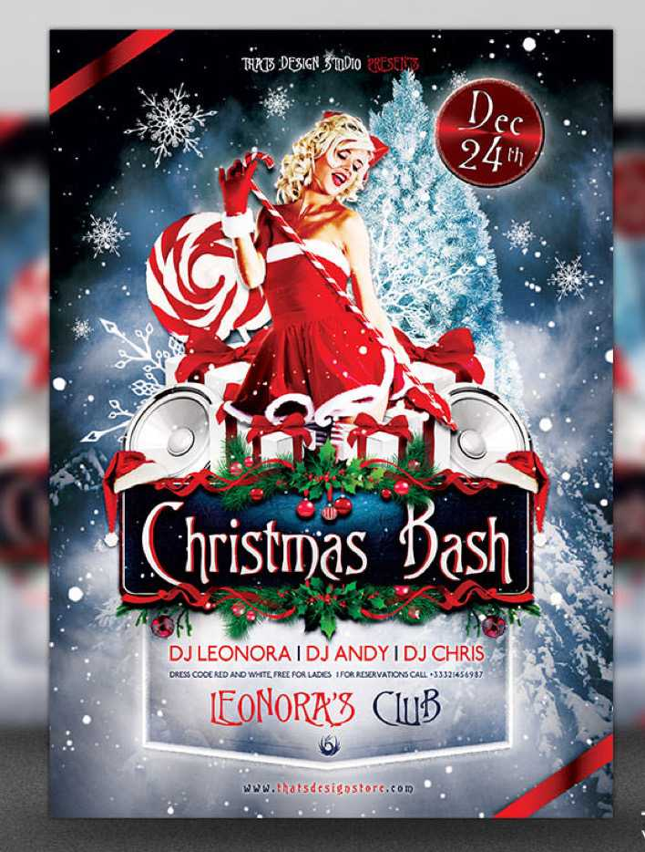 Christmas Bash Flyer Template Design in PSD Format Page 1