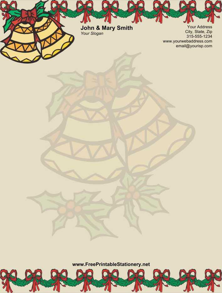 Christmas Bells Stationery Design in MS Word Page 1
