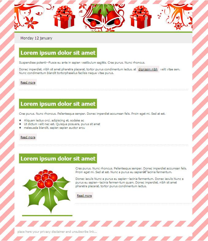 Christmas Email Newsletter Template Free Download Page 1