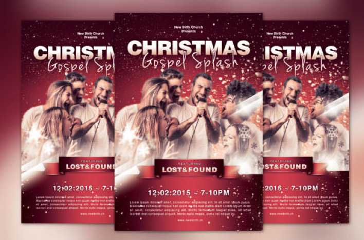 Christmas Gospel Splash Church Flyer PSD Format Page 1