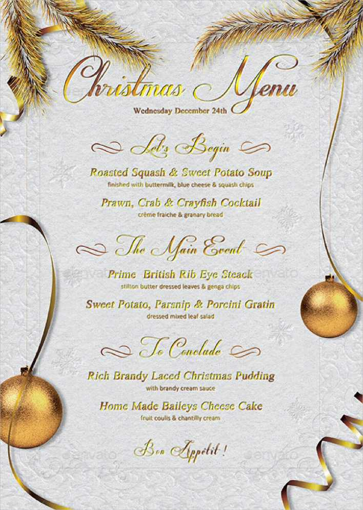 Christmas Menu Template Vector EPS Format Page 1
