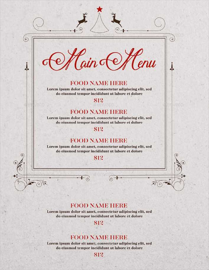 Christmas Menu Vector EPS Format Page 1